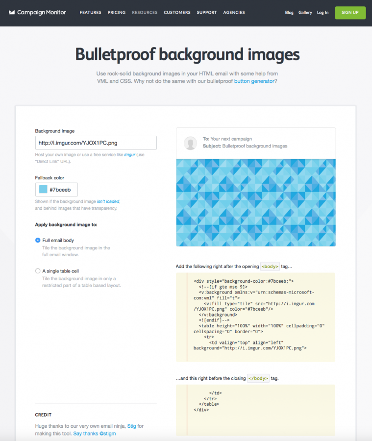 Campaign Monitor's background images tool
