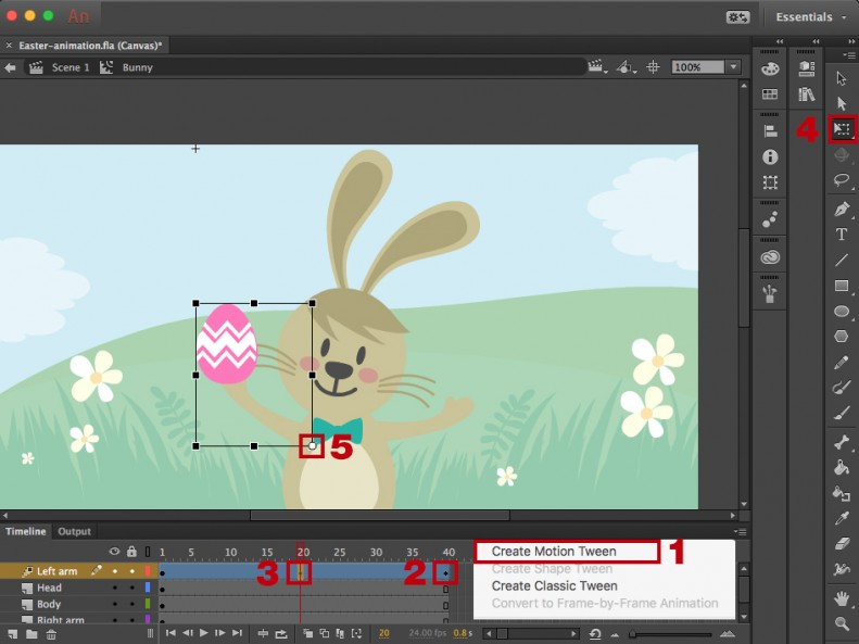 Using motion tween in Abode Animate