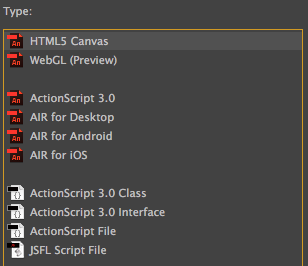 Adobe Animate new document screen
