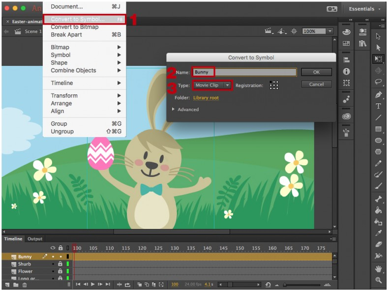 Creating movie clips in Adobe Animate