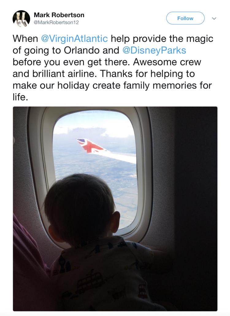 Tweet about the Virgin Atlantic customer service