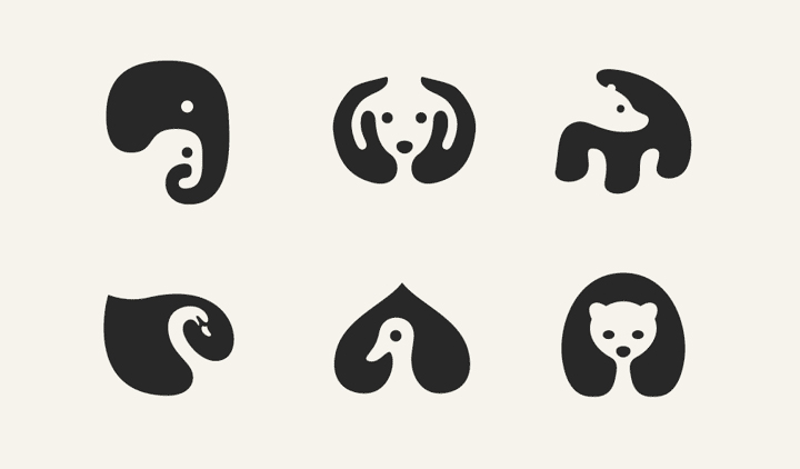 negative space animal icons